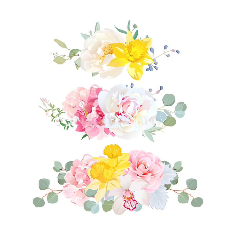 Stylish mix of horizontal bouquets vector design set. royalty free illustration
