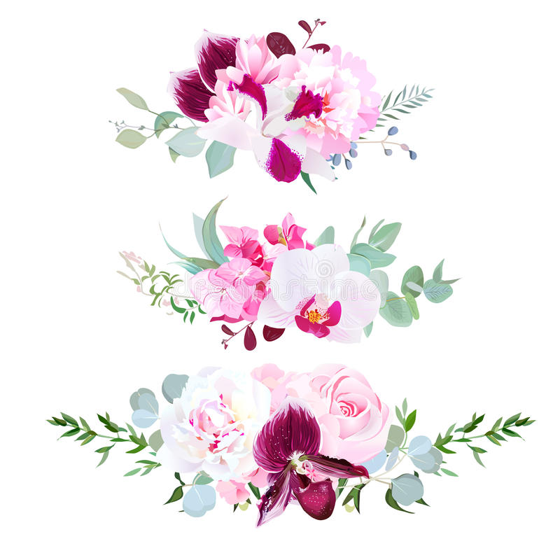 Stylish mix of horizontal bouquets vector design set royalty free illustration