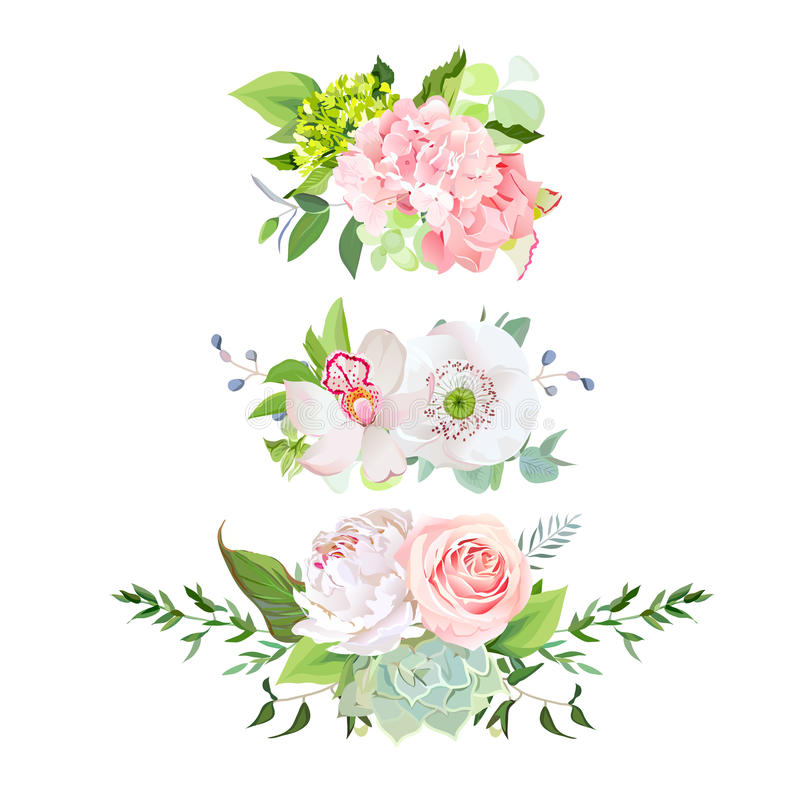 Stylish mix of horizontal spring bouquets vector design set. stock illustration