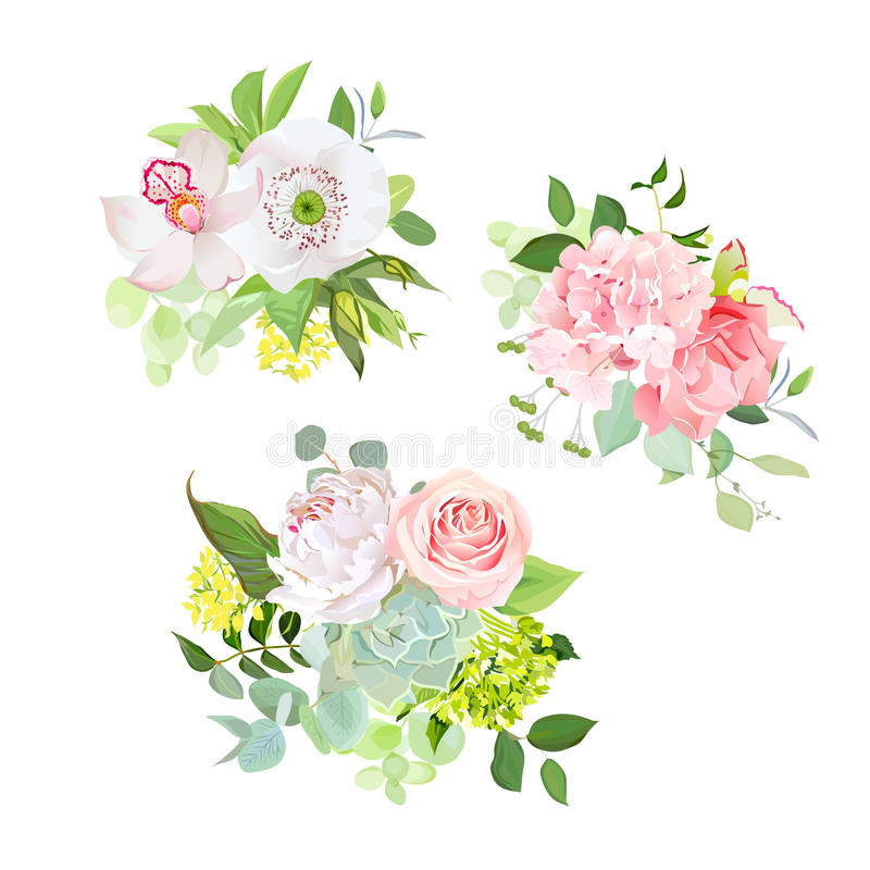Stylish mix of spring bouquets vector design set stock illustration
