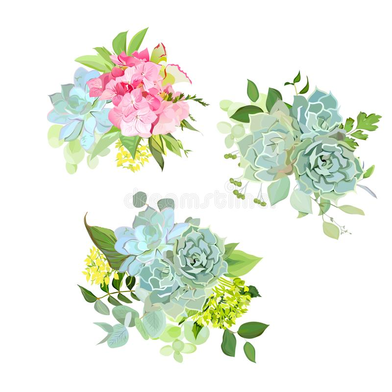 Stylish mix of spring bouquets vector design set royalty free illustration