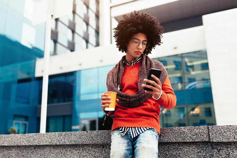 Stylish mixed race man, great design for any purposes. young student guy. Youth lifestyle stock image