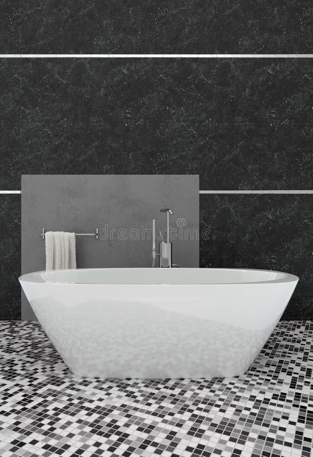 Stylish modern bathroom with white oval bathtub royalty free illustration