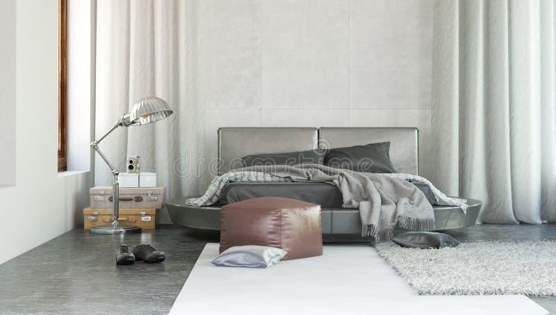Stylish modern bedroom interior with grey decor vector illustration