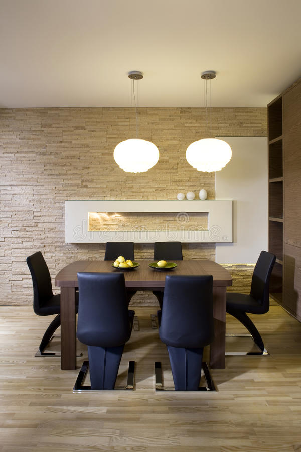 Download Stylish modern dining room stock image. Image of lamps - 12500933
