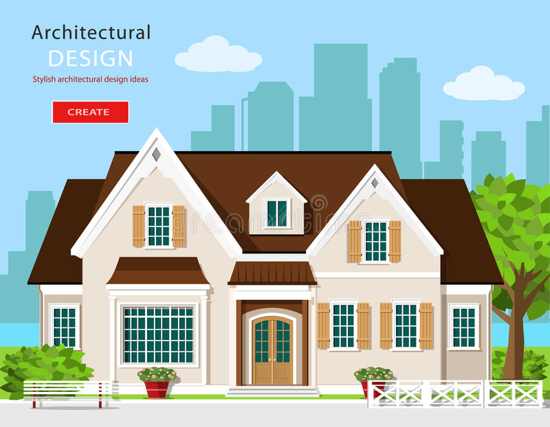 Stylish modern graphic cottage house. Flat style vector illustration. Set with building, city background, bench, tree and flowers. stock illustration