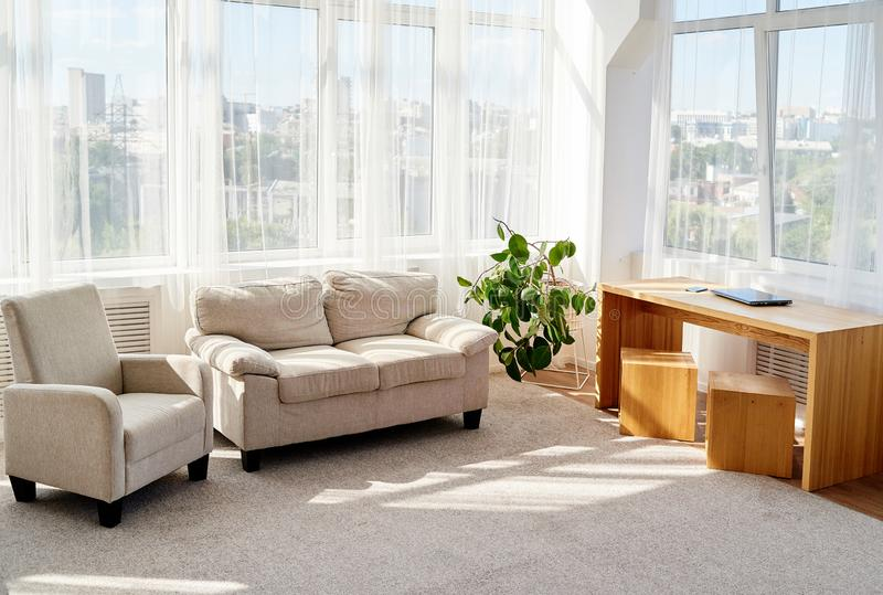 Stylish modern living room with comfortable beige sofa and armchair, wooden table and small green tree on floor. Living room stock photos