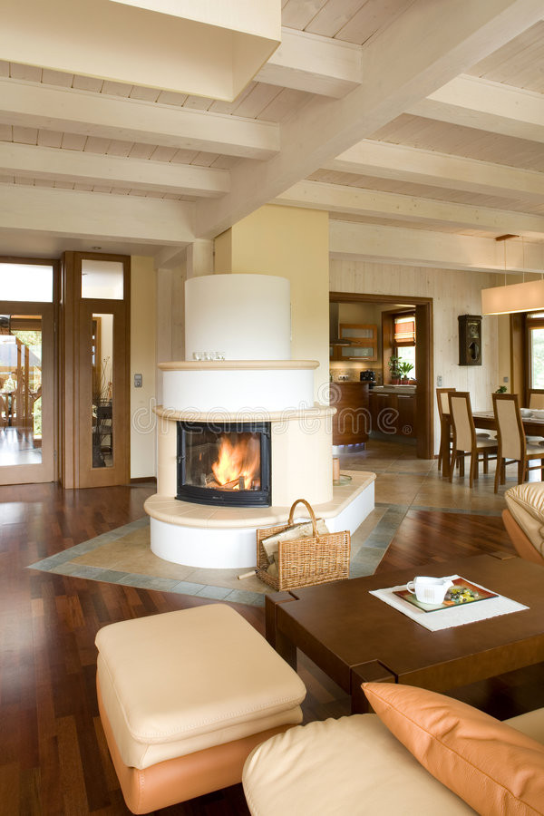 Download Stylish Modern Living Room With Fireplace Stock Image   Image Of  Close, Dwelling: