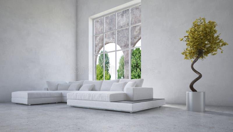 Stylish modern living room interior royalty free illustration
