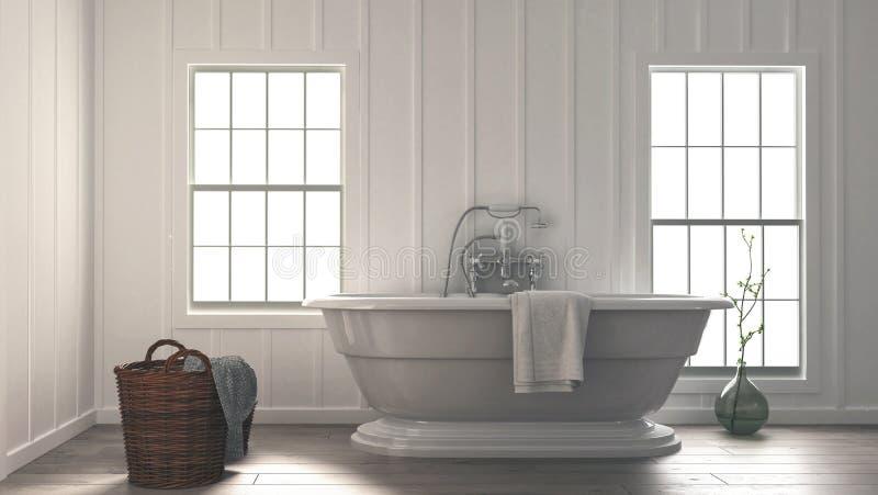 Stylish modern monochromatic white bathroom stock illustration