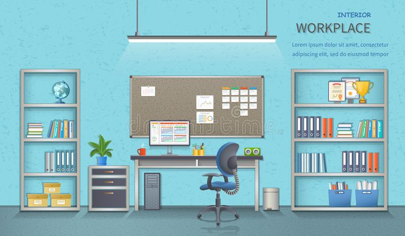 Stylish and modern office workplace. Room interior with desk. Business background. Detailed vector illustration for web banner stock illustration