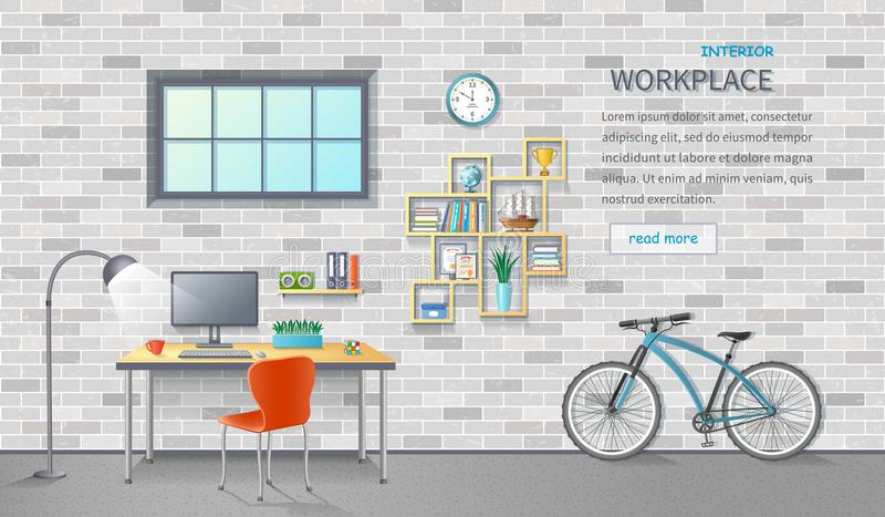 Stylish and modern office workplace. Room interior with desk, chair, monitor, bicycle. Brick background. Detailed vector. Illustration for a horizontal web stock illustration