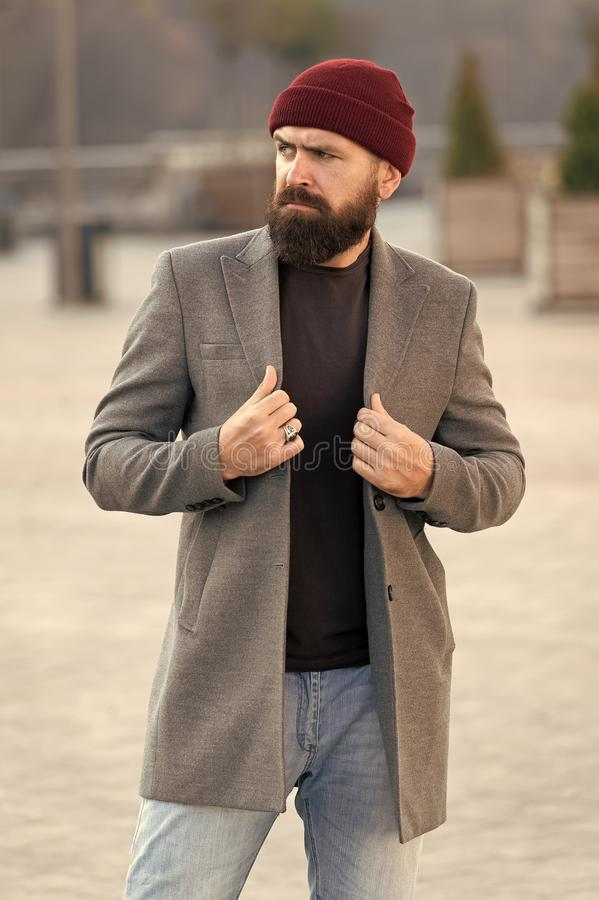Stylish modern outfit hat bright accessory. Hipster outfit. Stylish casual outfit for fall and winter season. Menswear. And male fashion concept. Man bearded royalty free stock images