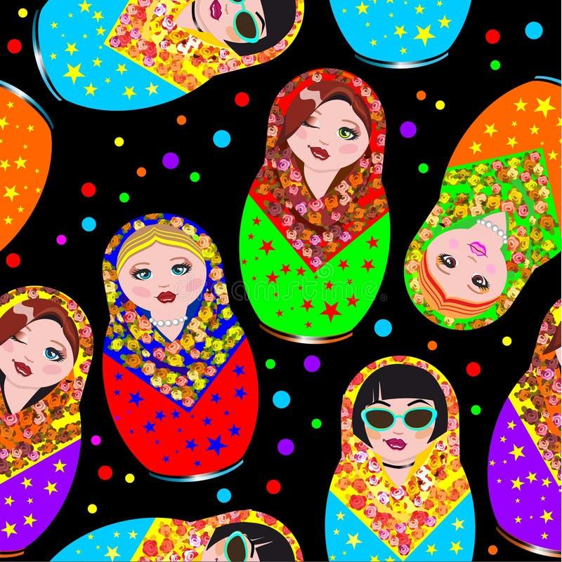 Stylish modern pattern of Russian national dolls in scarves. A stylish modern sample of Russian national dolls in a scarf. Matryoshka, a captive. Cartoon vector illustration