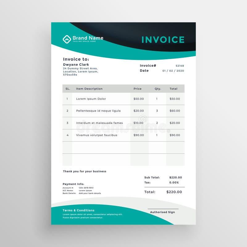 Stylish modern wavy business invoice template vector illustration
