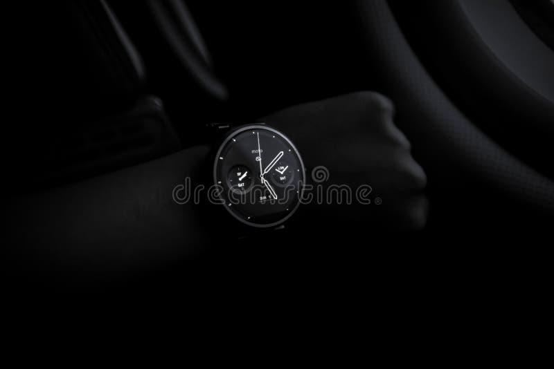 Stylish modern wristwatch stock photo