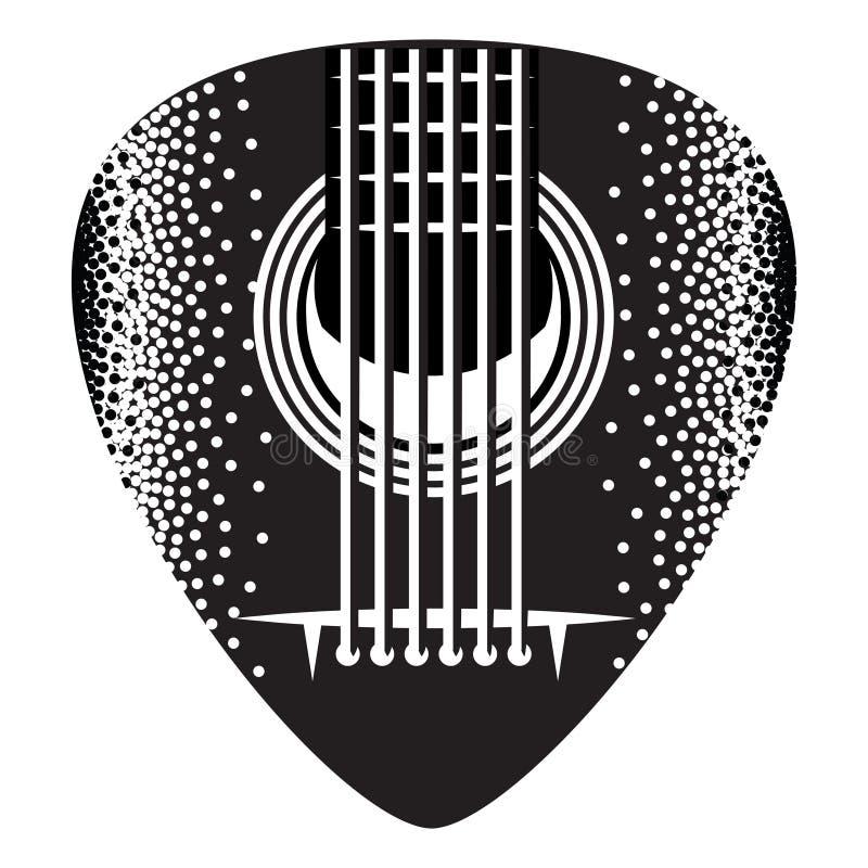 Stylish monochrome plectrum for guitar. Vector illustration.  royalty free illustration