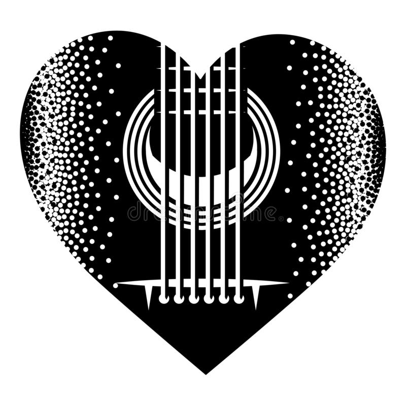 Stylish monochrome plectrum for guitar. Vector illustration.  stock illustration