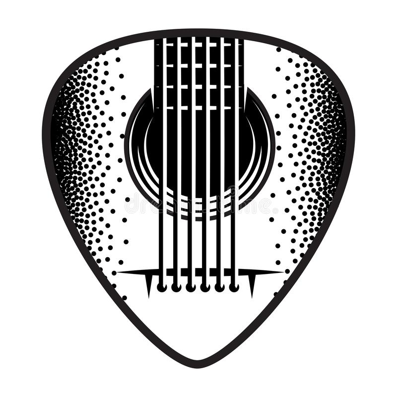 Stylish monochrome plectrum for guitar. Vector illustration.  vector illustration