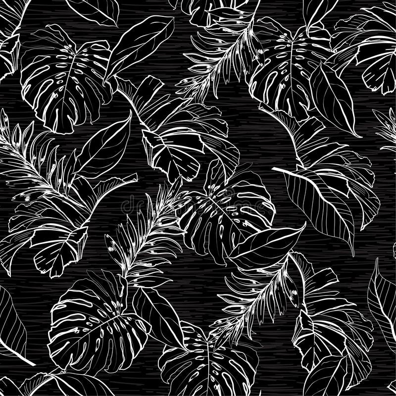 Stylish monotone black and white color of Floral and tropical le vector illustration
