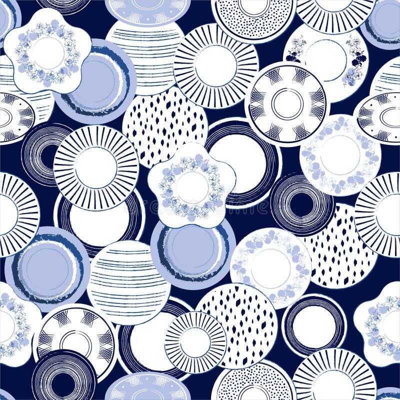 Stylish monotone blue in hand drawn brush porcelain dishes seamless pattern vector illustration. Design for fashion, fabric ,web, stock illustration