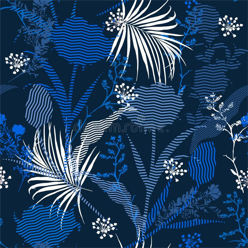 Stylish monotone blue Seamless silhouette of botanical plants and florals fill in with zigzag striped Pattern on colorful garden. Mood  Print in vector Design stock illustration