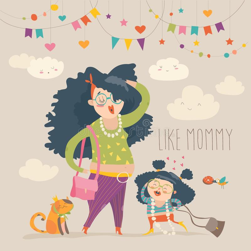 Stylish mother with her daughter royalty free illustration