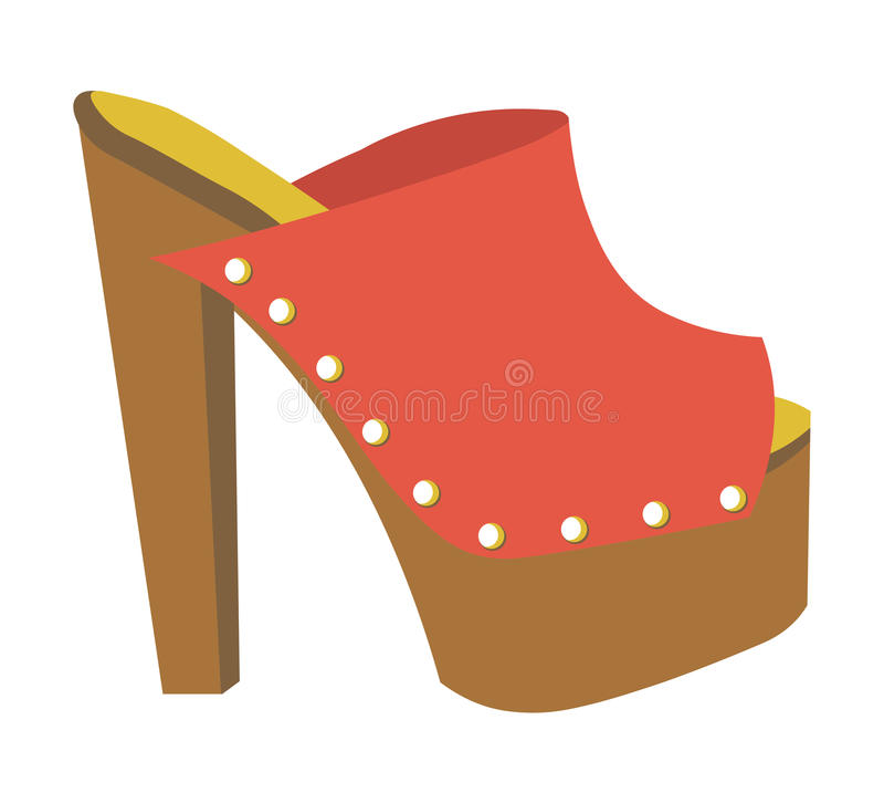 Stylish mule with heavy platform and high heel vector illustration