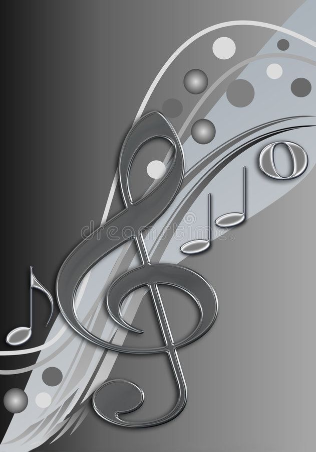 Stylish musical design. Stylish design / background in black, grey and white with music notes stock illustration