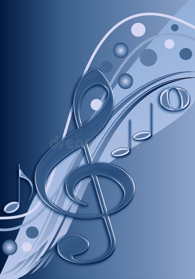 Stylish musical design in blue tones. Stylish design / background in blue tones with musical notes stock illustration