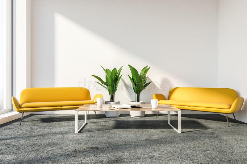 Stylish office lounge with yellow couches. Stylish office lounge interior with white walls, gray floor, two comfortable yellow sofas and coffee table. 3d stock illustration