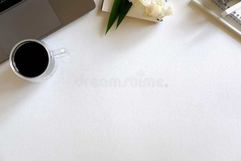 Ofiice workspace and supplies stock photo