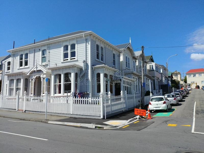 Stylish old colonial wooden houses in Wellington New Zealand stock images