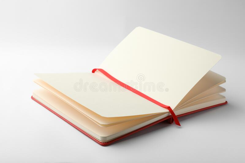 Stylish open notebook with blank sheets on white. Stylish open notebook with blank sheets isolated on white stock photos