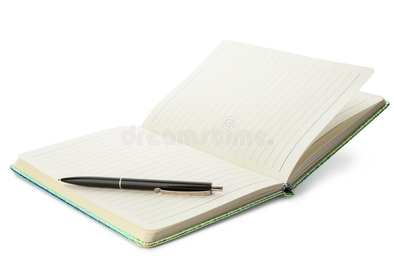 Stylish open notebook and pen isolated. On white royalty free stock images