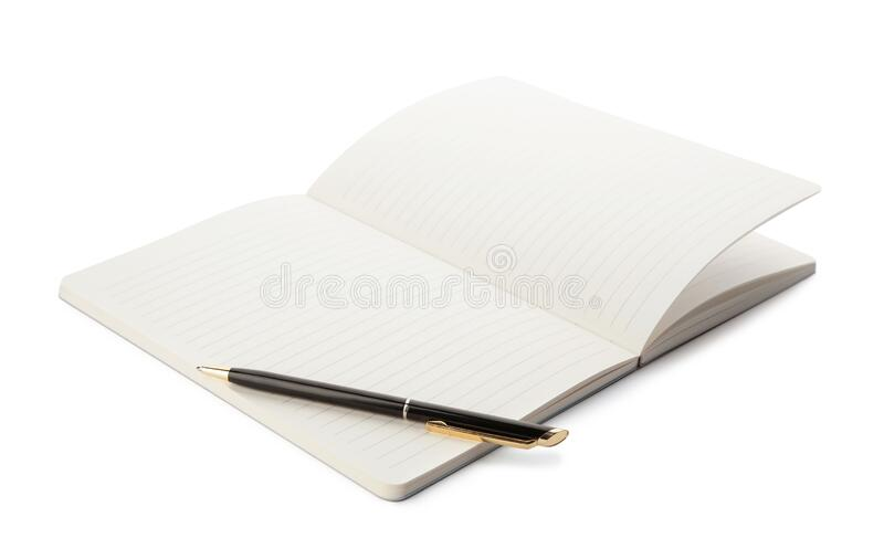 Stylish open notebook and pen. Isolated on white stock photography