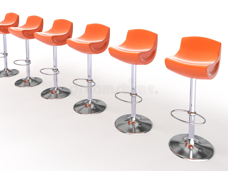 Stylish orange cafeteria chairs. Isolated on white background 3D stock illustration