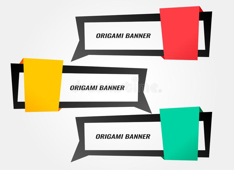Stylish origami banners in different colors. Vector royalty free illustration