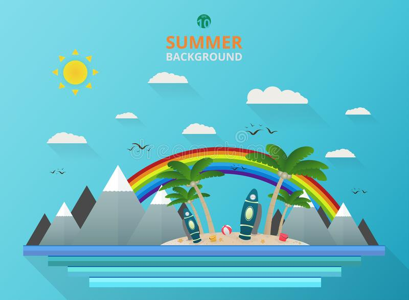 Stylish of outdoor summer background with rainbow and art combination vector. royalty free illustration