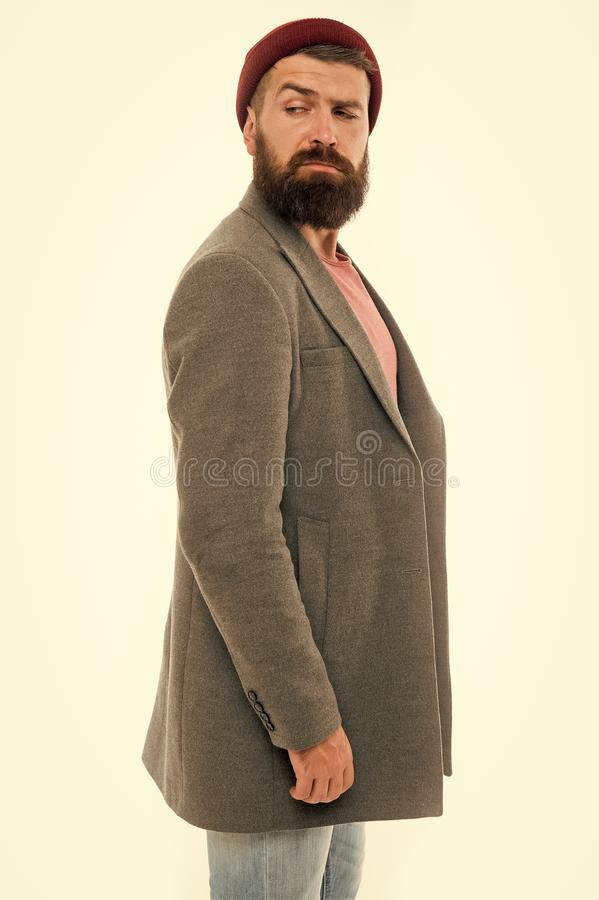 Stylish outfit hat accessory. Pick matching clothes. Find outfit style you feel comfortable. Stylish casual outfit. Menswear and fashion concept. Man bearded stock photos