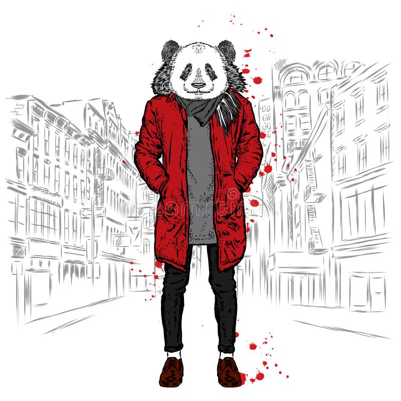 Free Stylish Panda In A Jacket And Jeans. Vector Illustration For Greeting Card, Poster, Or Print On Clothes. Fashion & Style. Stock Photography - 80596802
