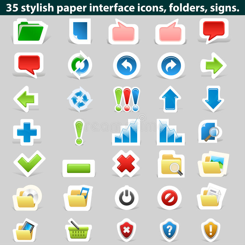 Download Stylish Paper Interface Icons, Folders, Signs. Stock Vector - Illustration: 32229508