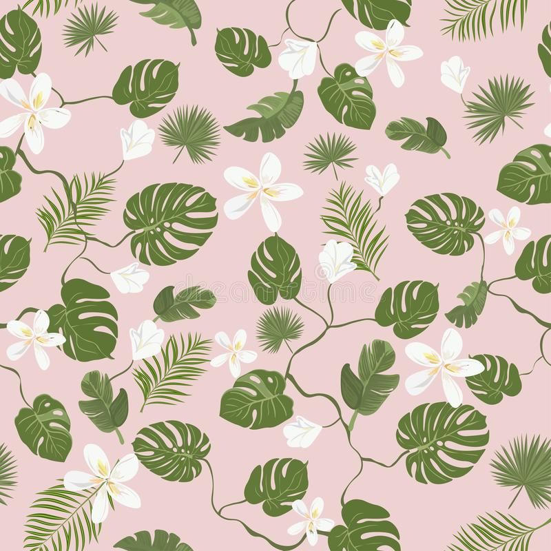 Stylish pattern, tropical leaves and flowers on pink background. Summer banner, postcard. Seamless pattern. Tropical leaves and flowers. Summer template for vector illustration