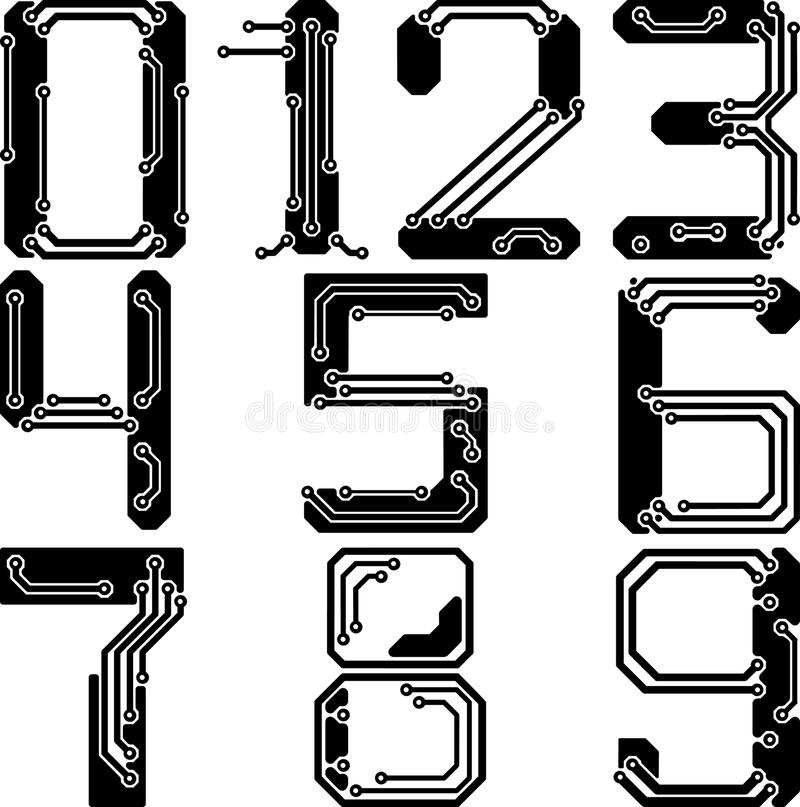 Stylish pcb electric wires numbers vector illustration