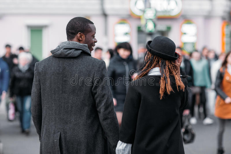 Stylish pedestrians. African American couple royalty free stock photo