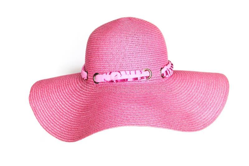 Stylish pink hat isolated on white stock photos