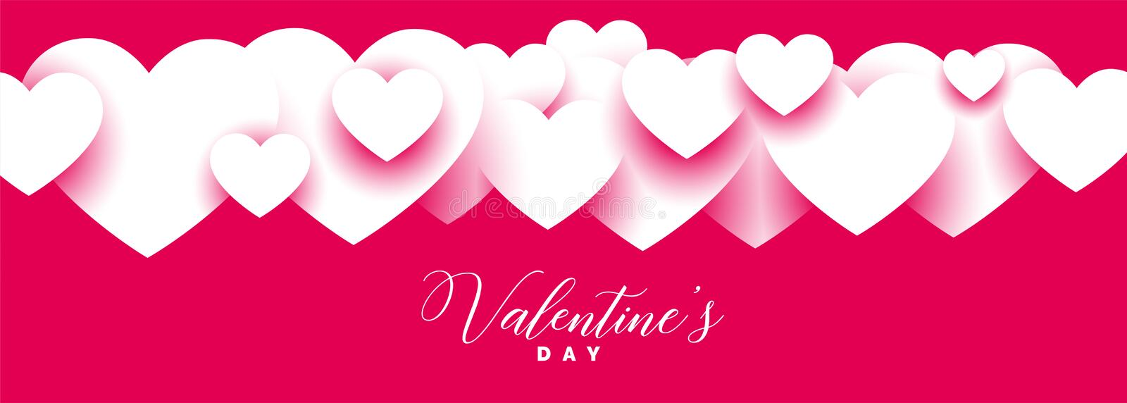 Stylish pink valentines day wide banner design. Vector royalty free illustration