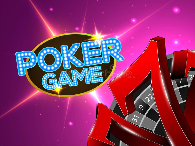 Stylish Poker Game text with 3d illustration of text seven on shiny purple. stock illustration