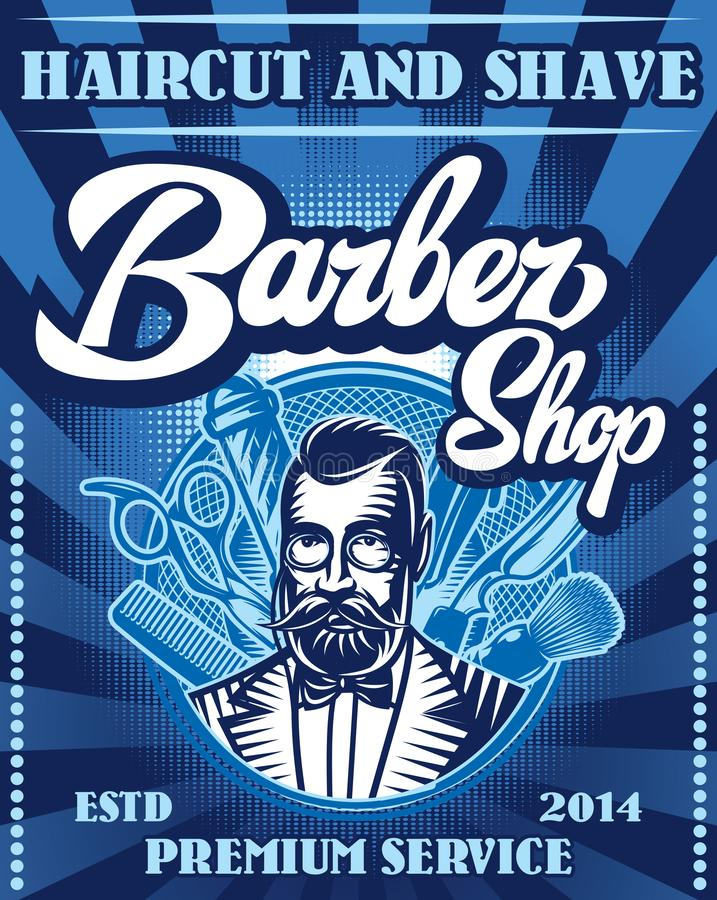 Stylish poster for advertising Barbershop with calligraphic inscription.  vector illustration
