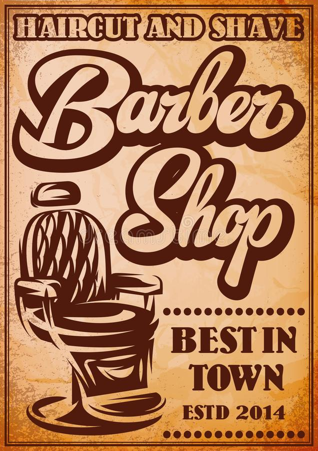 Stylish poster for advertising Barbershop with calligraphic inscription.  royalty free illustration